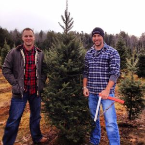 The author (left) and his brother about to cut an unsuspecting Christmas tree in North Yarmouth, Maine.