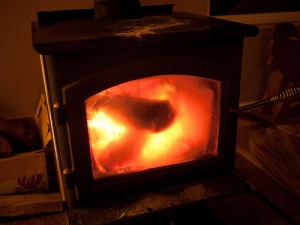 red hot wood stove
